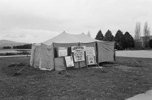 Tent Embassy black white