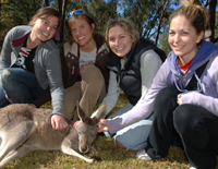 Mandy Greenspoon, Crystal Napasney, Laura Lande and Erin McAlister with Velvet the Red Kangaroo at Western Plains Zoo Dubbo. Photo: Belinda Soole.