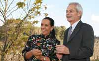 The Vice Chancellor Professor Ian Goulter with NSW MP Linda Burney at the launch in 2005 of the Indigenous Employment Strategy.