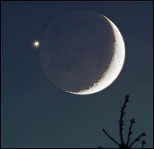 Crescent moon with Venus
