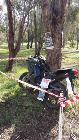 The damaged motorbike at CSU in Wagga Wagga.