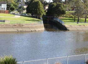 concreted river bank