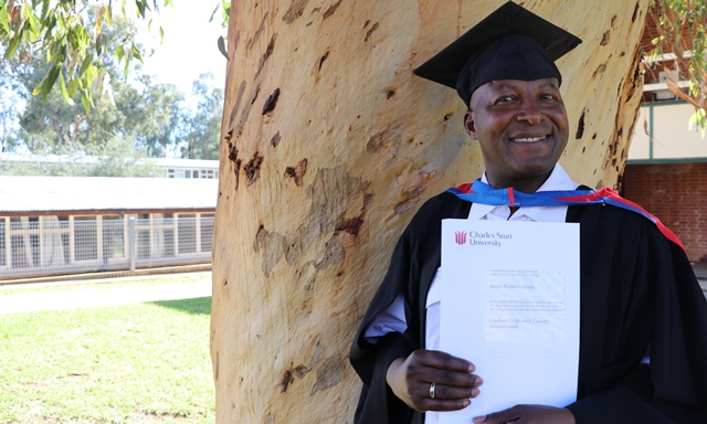 Mr James Githinji at CSU in Wagga Wagga.
