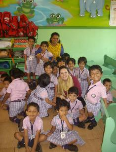 CSU student Ms Suska Denham with school children in India in January 2014