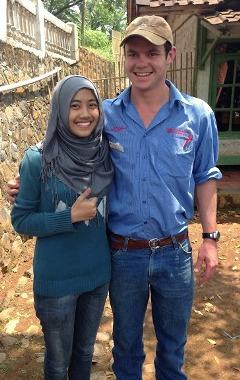 CSU student Mr Elliott O'Farrell with an Indonesian student in Cimaung village photo courtesy Mr Elliott O'Farrell