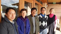 Dr Dr Tashi Samdup (centre) discusses future research opportunities in Bhutan with, from left, PhD student Kuenga Namgay, ILWS's Dr Joanne Millar, PhD student Karma Tenzing and Dr Rosemary Black from ILWS.