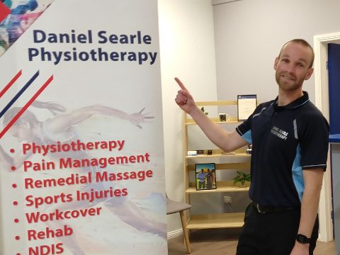 Daniel at his business, Daniel Searle Physiotherapy