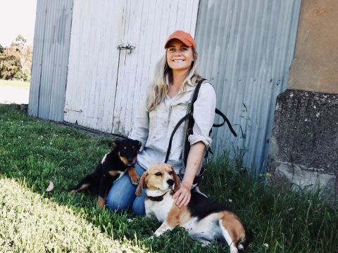 Charles Sturt alumna Dr Elle Moyle with her two dogs