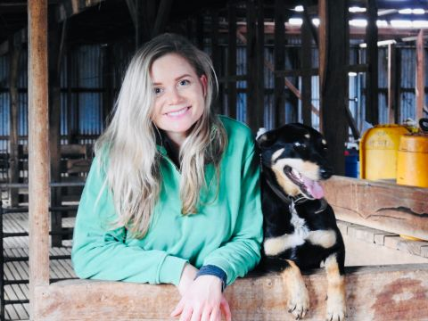 Dr Elle Moyle and one of her dogs