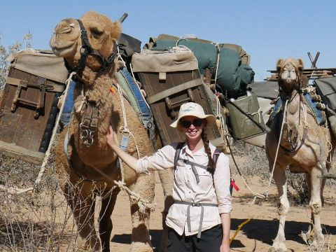 Megan Kaye with her camels
