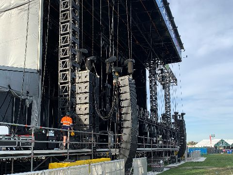 Stage for concert being set up