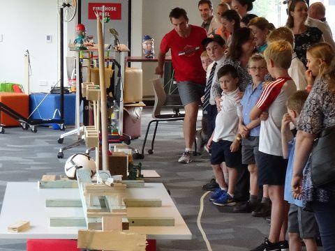 Visitors view the Rube Goldberg Machine