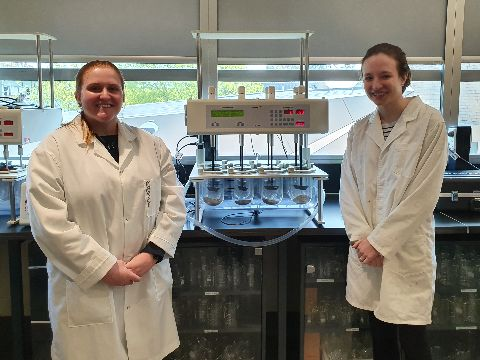 Pharmacy students Miss Lucy Hawkins andMrs Emily Guo