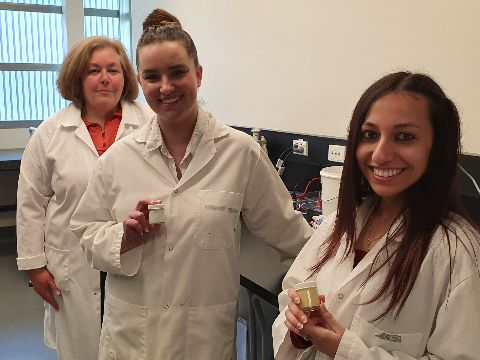 Dr Heather Robinson with pharmacy students Miss Mollie Gersbach andMiss Haidy Ibrahim