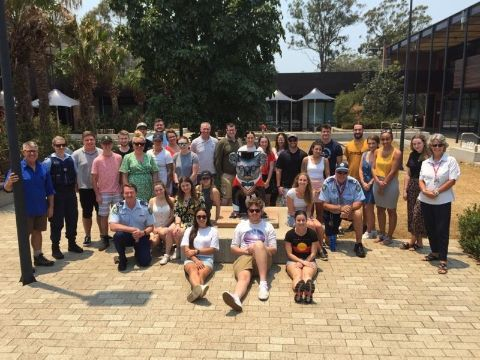 Students and academics from the 'Crime Prevention International Summer School' pictured with members of the NSW Police in Port Macquarie.
